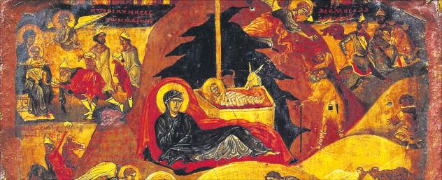 Die Ikone »Geburt und Kindheit Christi« (12. Jahrhundert) aus dem Katharinenkloster/Sinai. Zu sehen: die Krippe Jesu in einer Höhle mit Maria und Ochs und Esel. Foto: Reproduziert nach: Holy image, hallowed ground: icons from Sinai. Los Angeles: Getty Publications, 2006