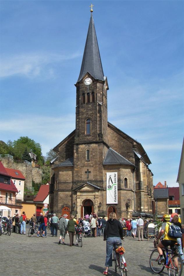 Radfahrerkirche, Radwegekirche, Stadt Wehlen, Fahrradkirche