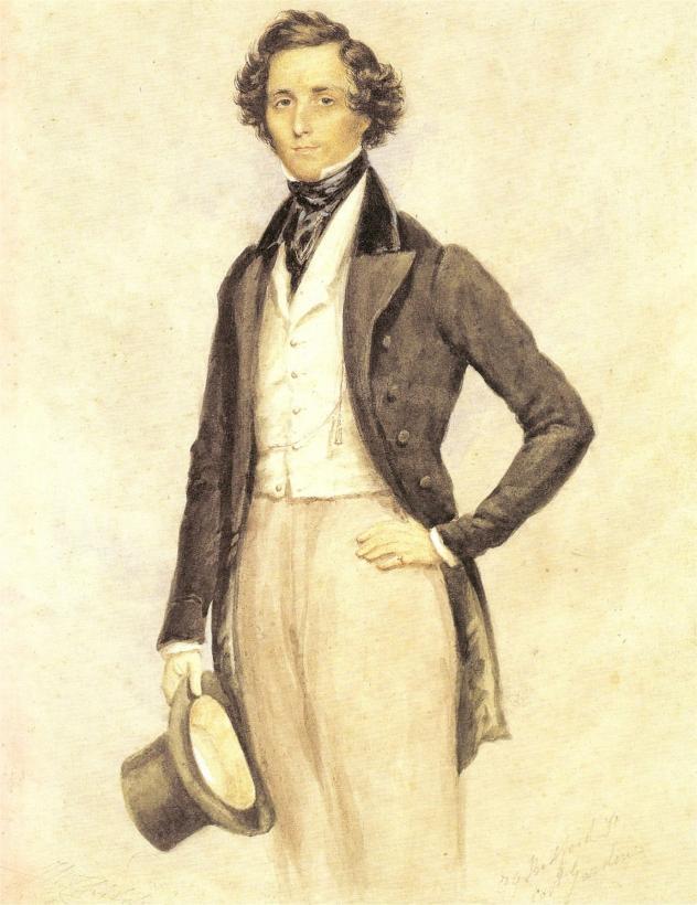 Felix Mendelssohn Bartholdy, Aquarell von James Warren Childe, 1830