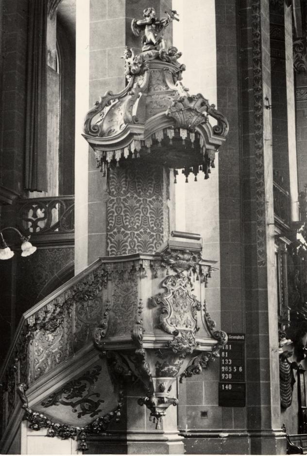 Barockkanzel in der alten Universitätskirche Leipzig. Foto: ZFF, Uni Leipzig/Kustodie