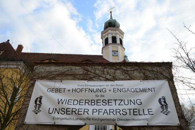 Transparent an der Hosterwitzer Kirche