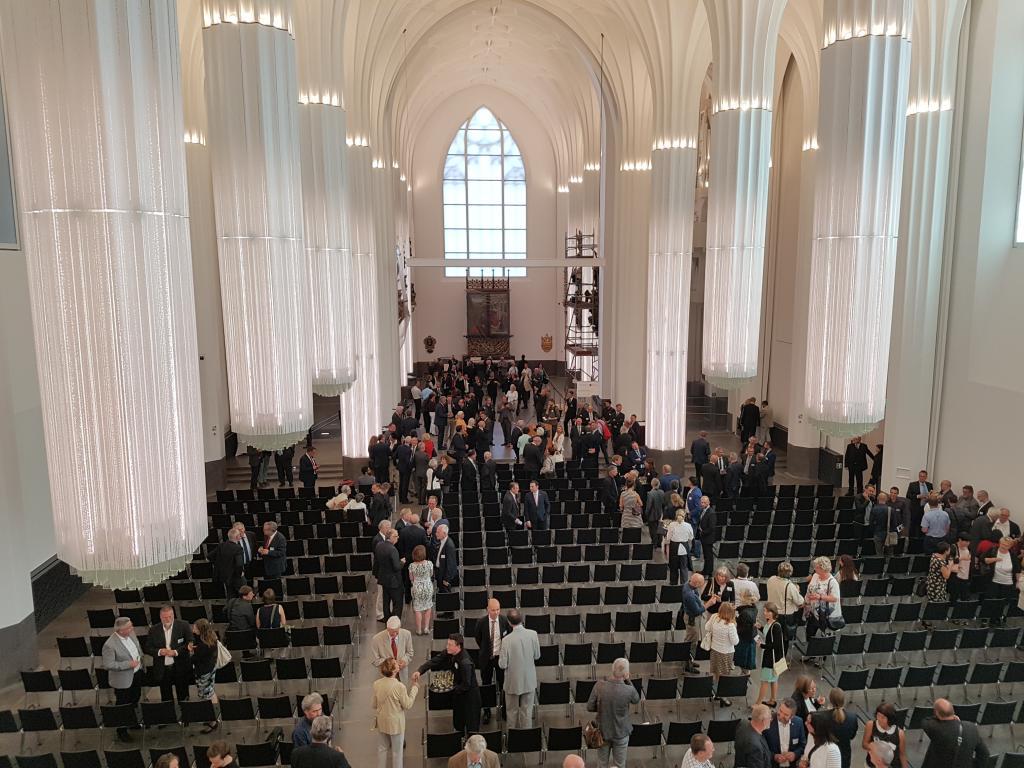 Blick von der Orgelempore in die neue Aula/Universitätskirche Leipzig. Foto: Uwe Naumann