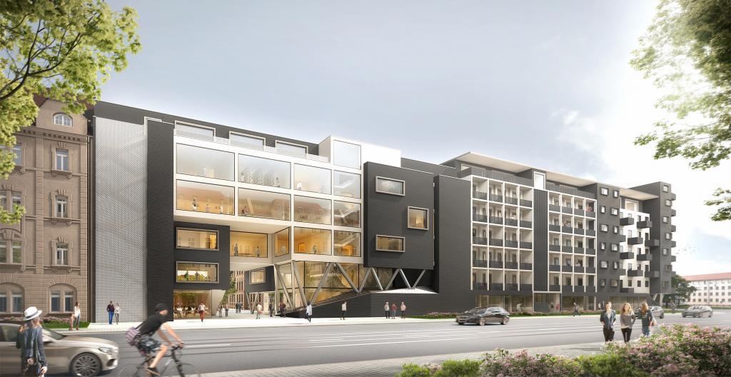 So soll der neue Campus Lorenzo mit seiner Berufsschule und der Wohnbebauung (rechts) künftig aussehen. Grafik: archlab