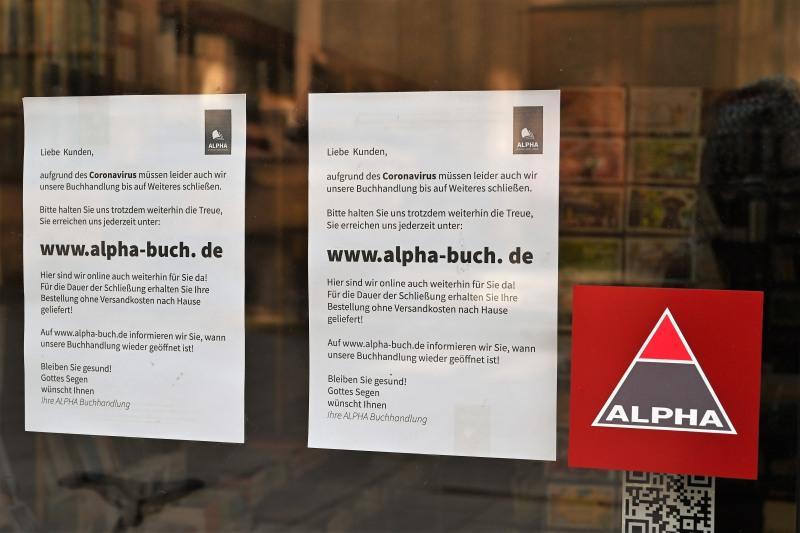 Buchhandlung, Aushang, Dresden, Corona