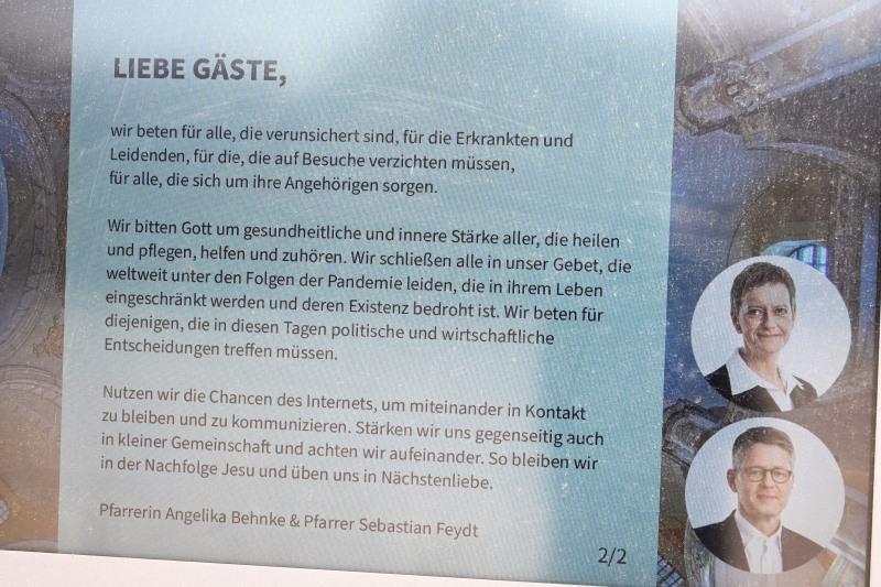 Frauenkirche, Dresden, Gebet, Aushang, Corona