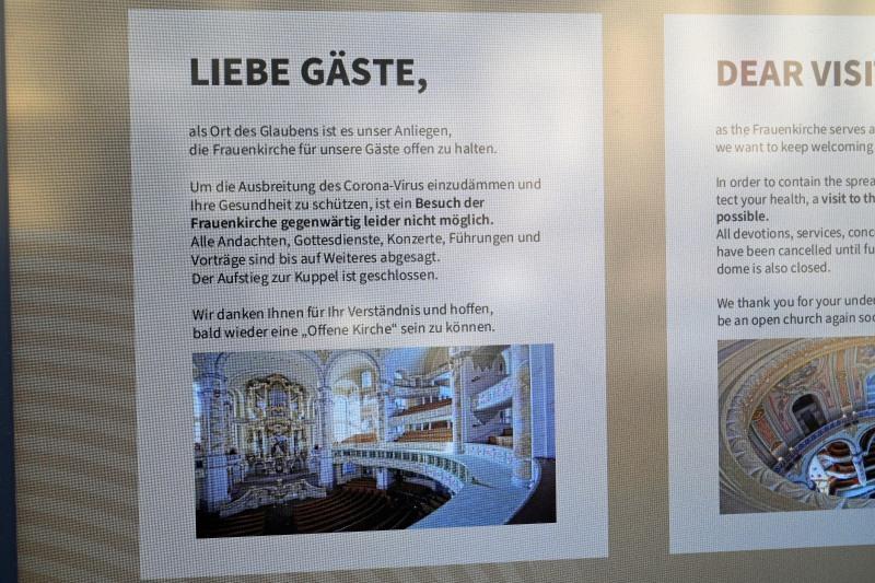 Frauenkirche, Dresden, geschlossen, Aushang, Corona