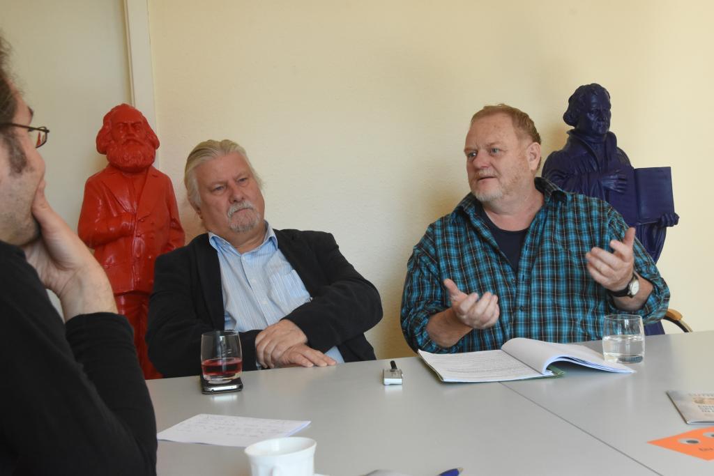 Andreas Roth im Interview mit Frieder Böhme (re.) und Egmont Elscher (M.)