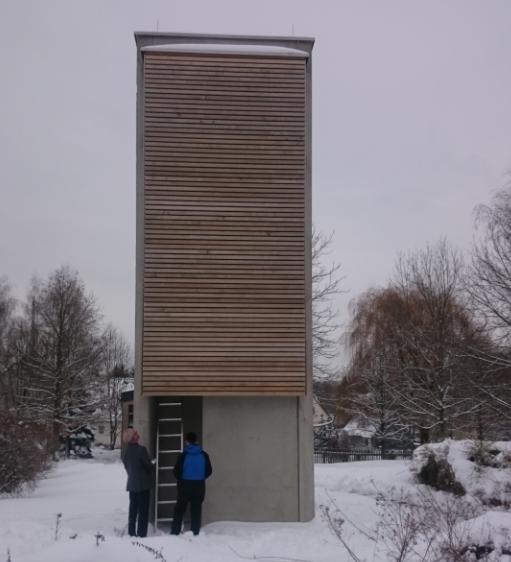 Der Glockenturm des Gemeindezentrums Markersdorf