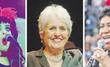 Frauen finden ihren Ton: Popstar Nina Hagen beim Berliner »Fest der Kirchen« (l.); die amerikanische Folkmusikerin Joan Baez (M.) und Soulsängerin Aretha Franklin.
